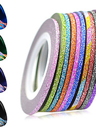 cheap -1set 2mm 12 Mixed Sparkling Colors Laser Glitter Nail Art Striping Tape Line DIY Nail Decorations Manicure Tools