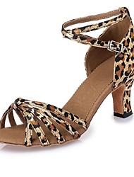Women's Dance Shoes Latin shoes Leopard satin CL45