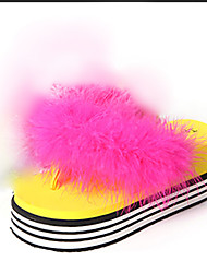 Women's Slippers & Flip-Flops Comfort PU Spring Summer Casual Dress Comfort Flower Flat Heel White Black Yellow Ruby Flat