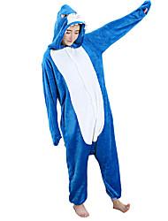 abordables -Adulte Pyjamas Kigurumi Requin Combinaison de Pyjamas Flanelle Toison Bleu Cosplay Pour Homme et Femme Pyjamas Animale Dessin animé Halloween Fête / Célébration