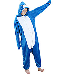 abordables -Pyjamas Kigurumi Requin Combinaison de Pyjamas Costume Flanelle Toison Bleu Cosplay Pour Adulte Pyjamas Animale Dessin animé Halloween