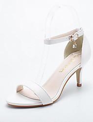 Feminino Sapatos Couro Ecológico Primavera Verão Outono Conforto Sapatos clube Sandálias Caminhada Salto Agulha Dedo Apontado Pedrarias
