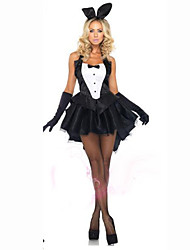 cheap -Bunny Girl Cosplay Costume Women's Carnival Festival / Holiday Halloween Costumes Black Solid Colored