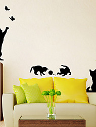 cheap -New Arrived Cat Play Wall Sticker Butterflies Stickers Decor Decals For Walls Vinyl Removable Decal/Wall Murals