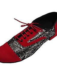 preiswerte -Herrn Schuhe für den lateinamerikanischen Tanz Wildleder / Kunststoff Absätze Innen Niedriger Heel Maßfertigung Tanzschuhe Rot-Schwarz