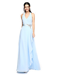 Sheath / Column Halter Floor Length Chiffon Bridesmaid Dress with Beading Sash / Ribbon Criss Cross Ruching by LAN TING BRIDE®