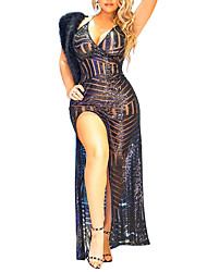 Party Club Sexy Vintage Bodycon See-through DressColor Block Backless Sequins Split Strap Maxi Sleeveless High Rise