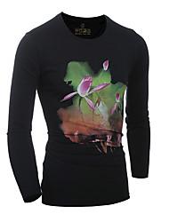 billige Nyheter-Bomull Rund hals T-skjorte Herre - Ensfarget, Trykt mønster
