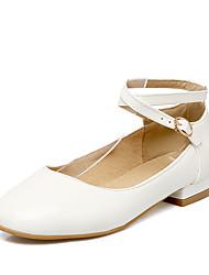 Heels Spring Summer Patent Leather Wedding Office & Career Dress Low Heel Buckle White Black Red