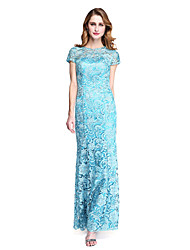 cheap -Sheath / Column Jewel Neck Floor Length Lace Mother of the Bride Dress with Lace by LAN TING BRIDE®