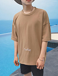 Camiseta Casual Simples Verão,Letra Branco Preto Marrom Algodão Decote Redondo Manga Curta Opaca Média