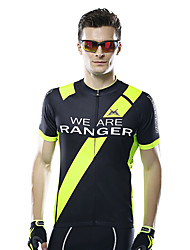 cheap -Mysenlan Men's Short Sleeves Cycling Jersey - Black/Green Dark Navy Bike Jersey, Breathable
