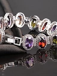 cheap -Women's Crystal Chain Bracelet - Crystal, Zircon, Cubic Zirconia Luxury, Natural, European Bracelet White / Rainbow / Light Purple For Party Engagement Gift