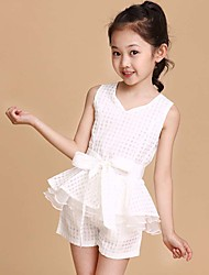 Girl's Cotton Fashion And Lovely Sleeveless Broken Beautiful Bowknot Belt Unlined Upper Garment Of Cotton Shorts Two-Piece