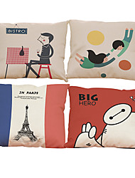 Set of 4 Home creative pattern Linen Pillowcase Sofa Home Decor Cushion Cover