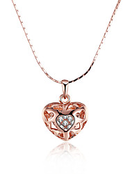 Women's Pendant Necklaces Chain Necklaces AAA Cubic Zirconia Zircon Rose Gold Plated Alloy HeartBasic Unique Design Dangling Style