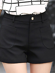 Women's Plus Size Straight Wide Leg Chinos Shorts Pants,Going out Casual/Daily Simple Cute Solid Patchwork High Rise Zipper Button