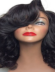 cheap -Hot Sale Short Brazilian Human Virgin Hair Body Wave Glueless Lace Front Wig With Baby Hair Natural Black Woholesale