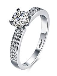preiswerte -Ringe Besondere Anlässe Alltag Normal Schmuck Zirkon Kupfer versilbert Ring Verlobungsring 1 Stück,6 7 8 9 Silber