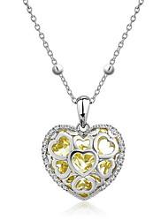 preiswerte -Herz Kristall Sterling Silber Anhängerketten  -  Grundlegend Liebe Herz Gelb Rose Rot Dunkelgrün Modische Halsketten Für Alltag Normal