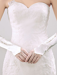 cheap -Elastic Satin Elbow Length Glove Bridal Gloves Party/ Evening Gloves With Rhinestone Appliques