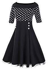 Women's Casual/Daily Sophisticated Sheath Dress,Polka Dot Boat Neck Midi ½ Length Sleeve Cotton Polyester Black Spring Mid Rise