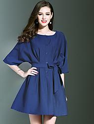 Feminino Evasê Vestido,Para Noite Casual Férias Vintage Simples Sofisticado Sólido Decote Redondo Acima do Joelho Meia Manga Azul Cinza