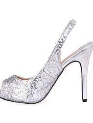 economico -scarpe sandali estivi Club party di nozze sintetico&abito da sera nero argento