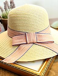 abordables -Femme Mignon Capeline Chapeau de Paille Chapeau de soleil Couleur Pleine