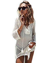 Women's White Lace-up Neck Long Fishnet Beachwear Dress