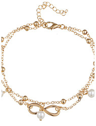 cheap -Anklet Infinity Pearl Alloy Natural Movie Jewelry Turkish Handmade Hip-Hop Fashion Double-layer European Beaded Barefoot Sandals Gold