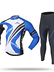 cheap -XINTOWN Men's Long Sleeves Cycling Jersey with Tights - Black Bike Jersey Pants / Trousers Clothing Suits, 3D Pad, Quick Dry, Ultraviolet