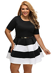 Women's Going out Plus Size Cute A Line Dress,Color Block Round Neck Mini Short Sleeves Polyester Spandex Summer High Rise Micro-elastic