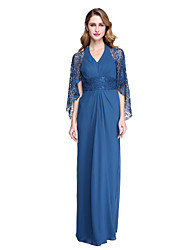cheap -Sheath / Column Halter Neck Floor Length Chiffon / Lace Mother of the Bride Dress with Pleats by LAN TING BRIDE® / See Through