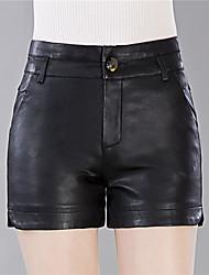 cheap -Plus Size Slim Shorts Pants - Solid, Split High Rise