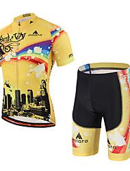 economico -Miloto Maglia con pantaloncini da ciclismo Unisex Manica corta Bicicletta Set di vestiti Materiali leggeri Pad 3D Strisce riflettenti