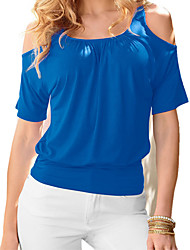 cheap -Women's Beach Active Cotton T-shirt - Solid Colored / Color Block / Spring / Summer