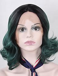 abordables -Peluca Lace Front Sintéticas Ondulado Amplio Corte Bob Pelo sintético Raya en medio / Entradas Naturales Verde Peluca Mujer Corta Encaje Frontal