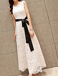 Casual/Daily Work Beach Sexy Vintage Simple Shift Dress,Solid Round Neck Maxi Sleeveless Others White Black Summer Mid Rise Micro-elastic