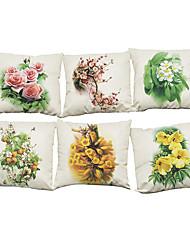 Set of 6  fresh plants pattern Linen Pillowcase Sofa Home Decor Cushion Cover (18*18inch)