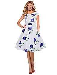 baratos -Mulheres Trabalho Solto Bainha Vestido Floral Cintura Baixa Altura dos Joelhos