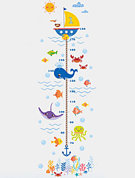 Wall Stickers Wall Decals Style Underwater World Shark Pirate Ship Measure Your Height PVC Wall Stickers