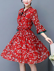 Women's Casual/Daily Vintage Swing Dress,Print Bow Asymmetrical Knee-length ¾ Sleeve Flare Sleeve Polyester Red Yellow Spring Mid Rise