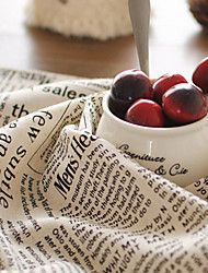 cheap -50x70cm Cotton Linen Napkin English Retro Printed Newspaper Pattern Placemats Rectangle For Home Decoration