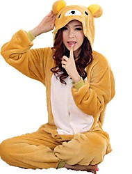 cheap -Kigurumi Pajamas Bear Onesie Pajamas Costume Coral fleece Yellow Cosplay For Adults' Animal Sleepwear Cartoon Halloween Festival / Holiday