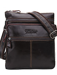 cheap -Men's Bags Cowhide Crossbody Bag for Casual Sports Office & Career All Seasons Dark Brown