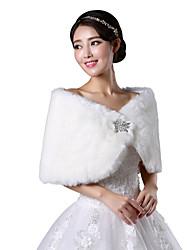 Xales em Pêlo / Wraps casamento Boleros Sem Mangas Pelo Artificial Branco / Rubi Casamento / Festa Canoa Butão Fecho