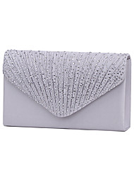 cheap -Women's Bags Satin Evening Bag Tri-fold Crystal/ Rhinestone for Wedding Event/Party Formal All Seasons Black Silver Navy Blue Almond Wine