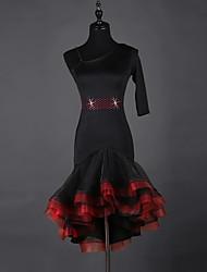 Debemos vestidos latinos de la danza de los vestidos de las mujeres spandex organza vestido de 1 pedazo