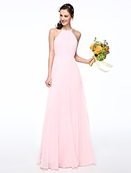 cheap -A-Line Jewel Neck Floor Length Chiffon Bridesmaid Dress with Pleats by LAN TING BRIDE®